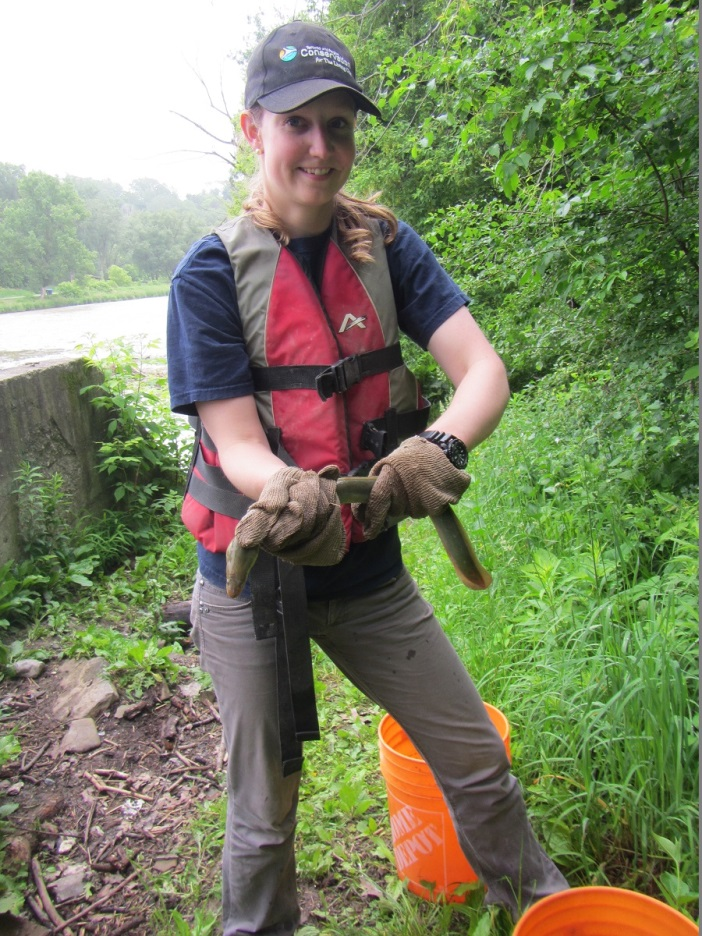 A member of TRCA's environmental monitoring team holds a recently discovered American Eel, member of an endangered species