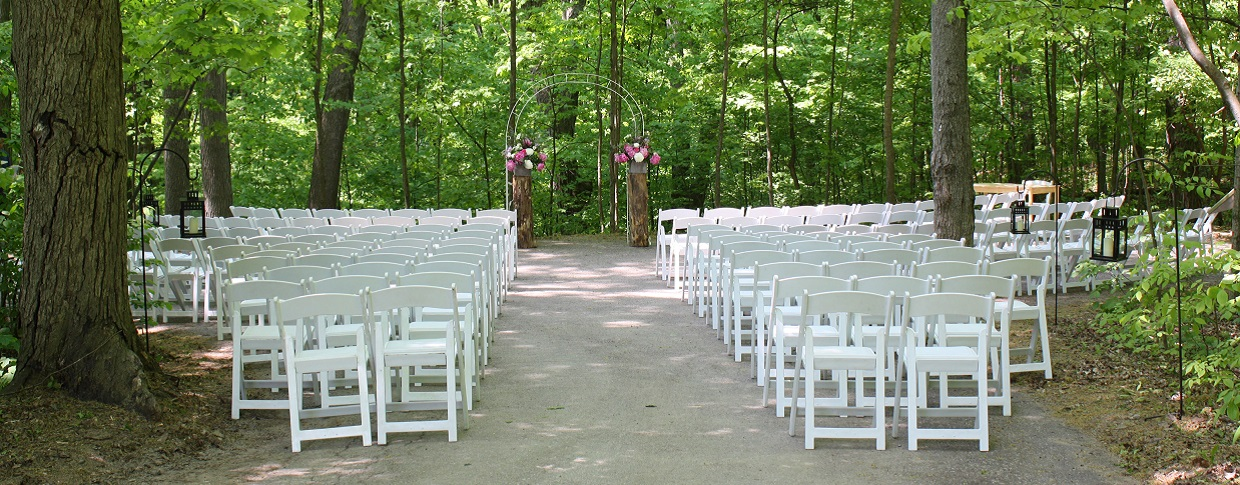 forest wedding setup at kortright centre