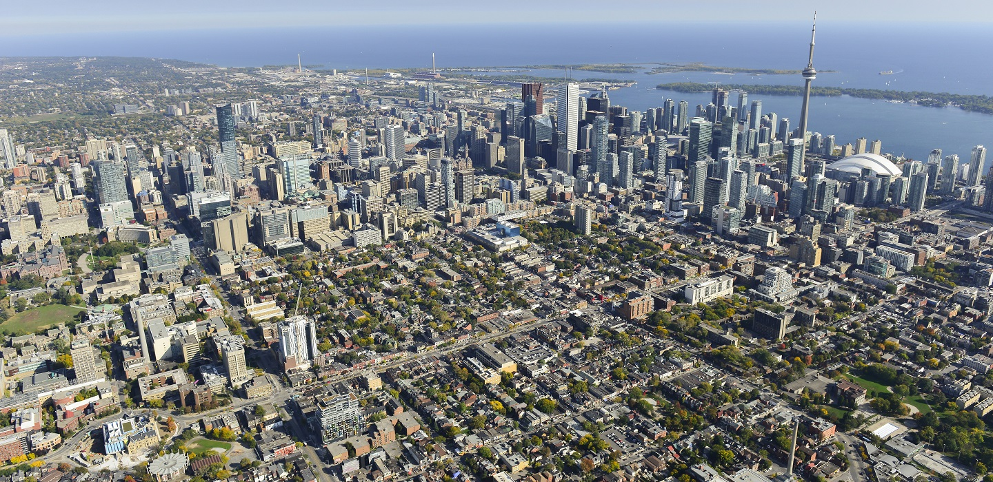 aerial view of downtown Toronto looking south toward Lake Ontario