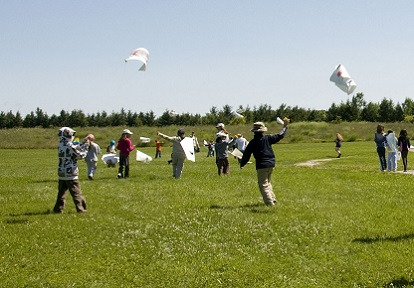 youngsters fly kites at Kortright Centre