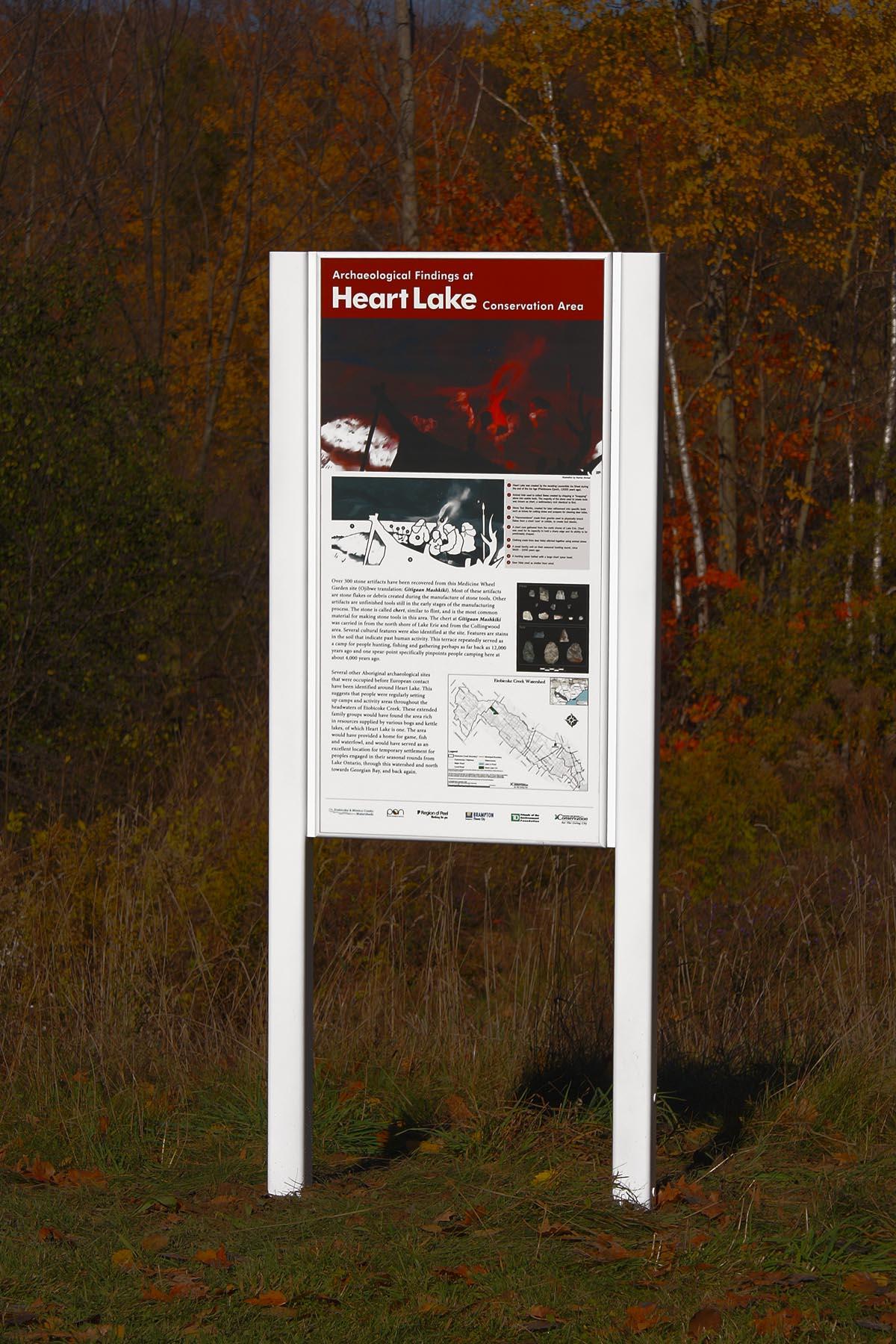 Heart Lake archaeology sign