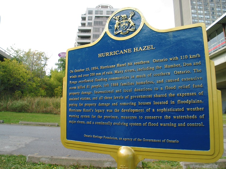 Hurricane Hazel historical plaque