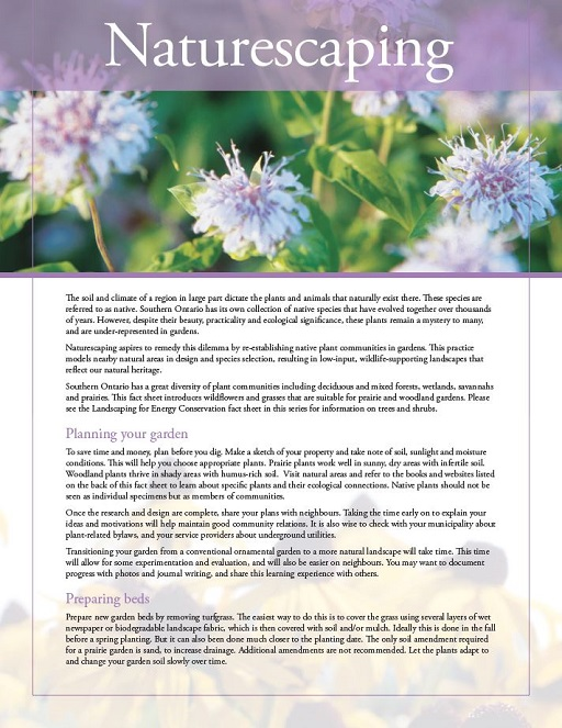 naturescaping fact sheet cover