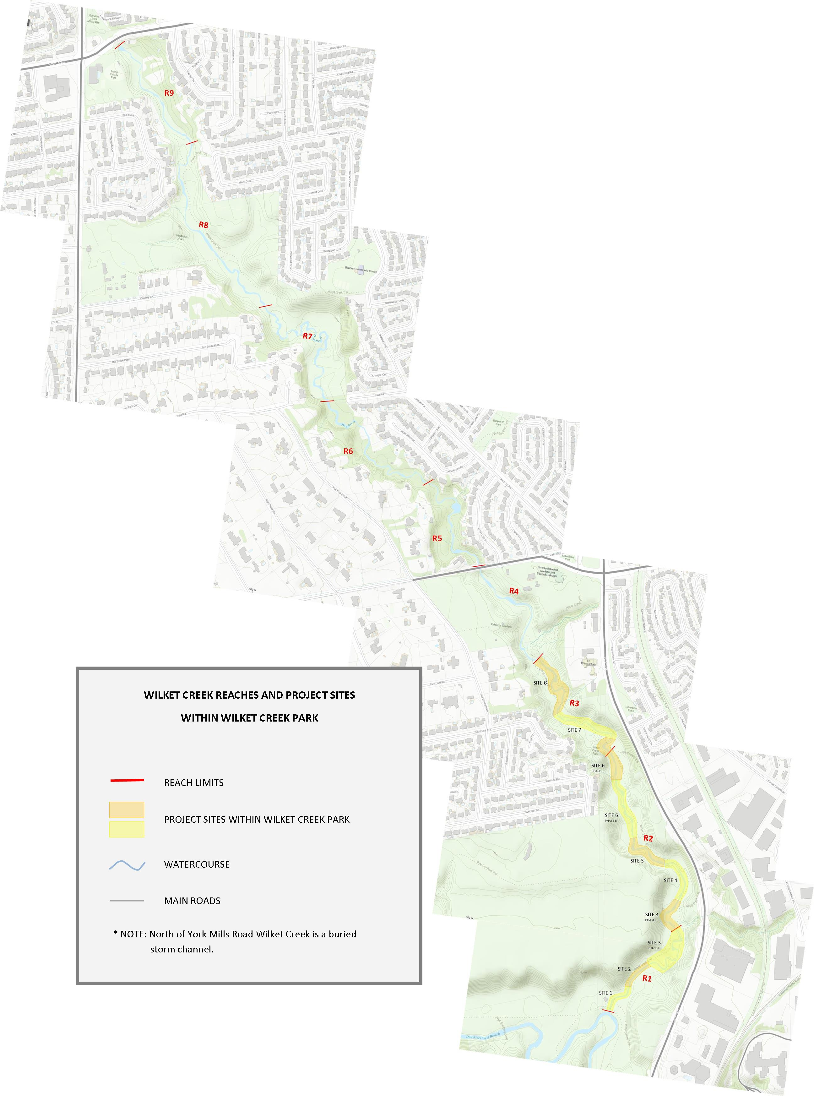 Map of all reaches and sub-project sites within Wilket Creek Park