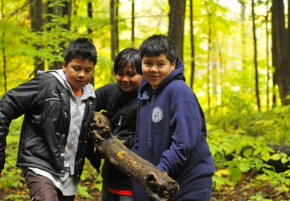 Students in the woods at Albion Hills Field Centre