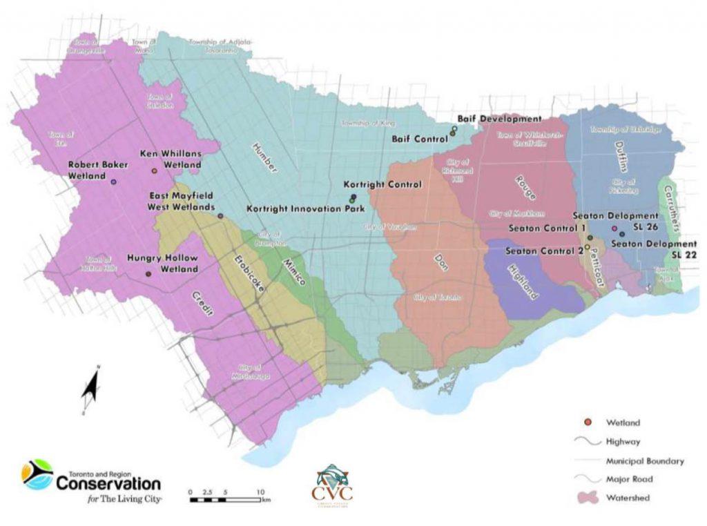Wetland water balance study sites in TRCA and CVC jurisdictions