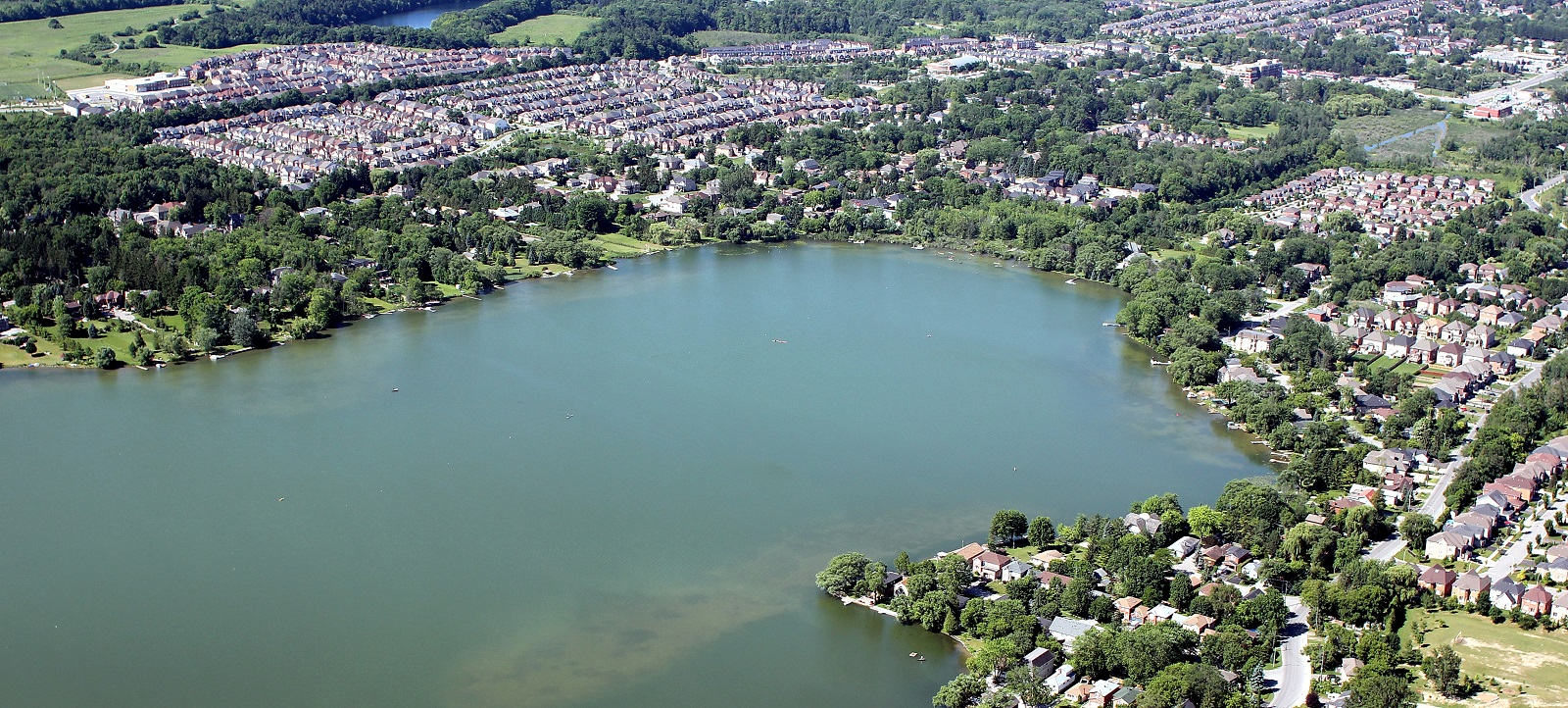 Aerial view of Lake Wilcox and the surrounding neighbourhood