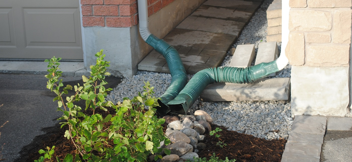 downspouts on a residential property
