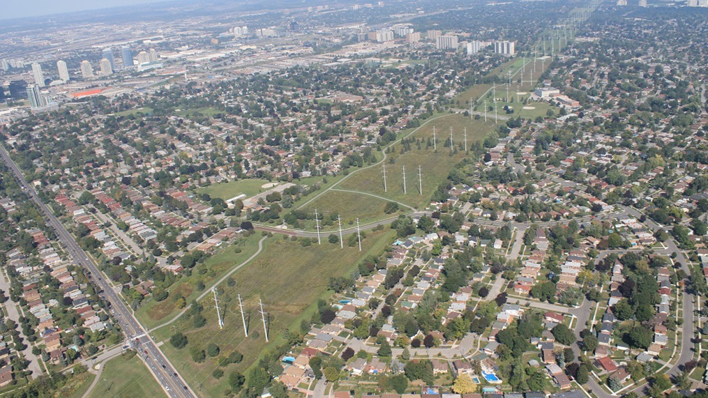 aerial view of hydro corridor
