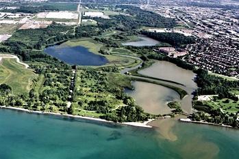 aerial view of Corner Marsh after restoration