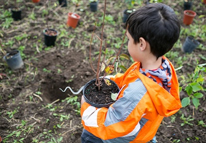 a youngster takes part in the TRCA Highland Greening project
