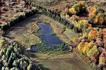 aerial view of Kortright Farm after restoration