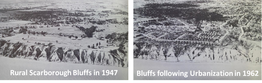 Rural Scarborough Bluffs in 1947 and 1962
