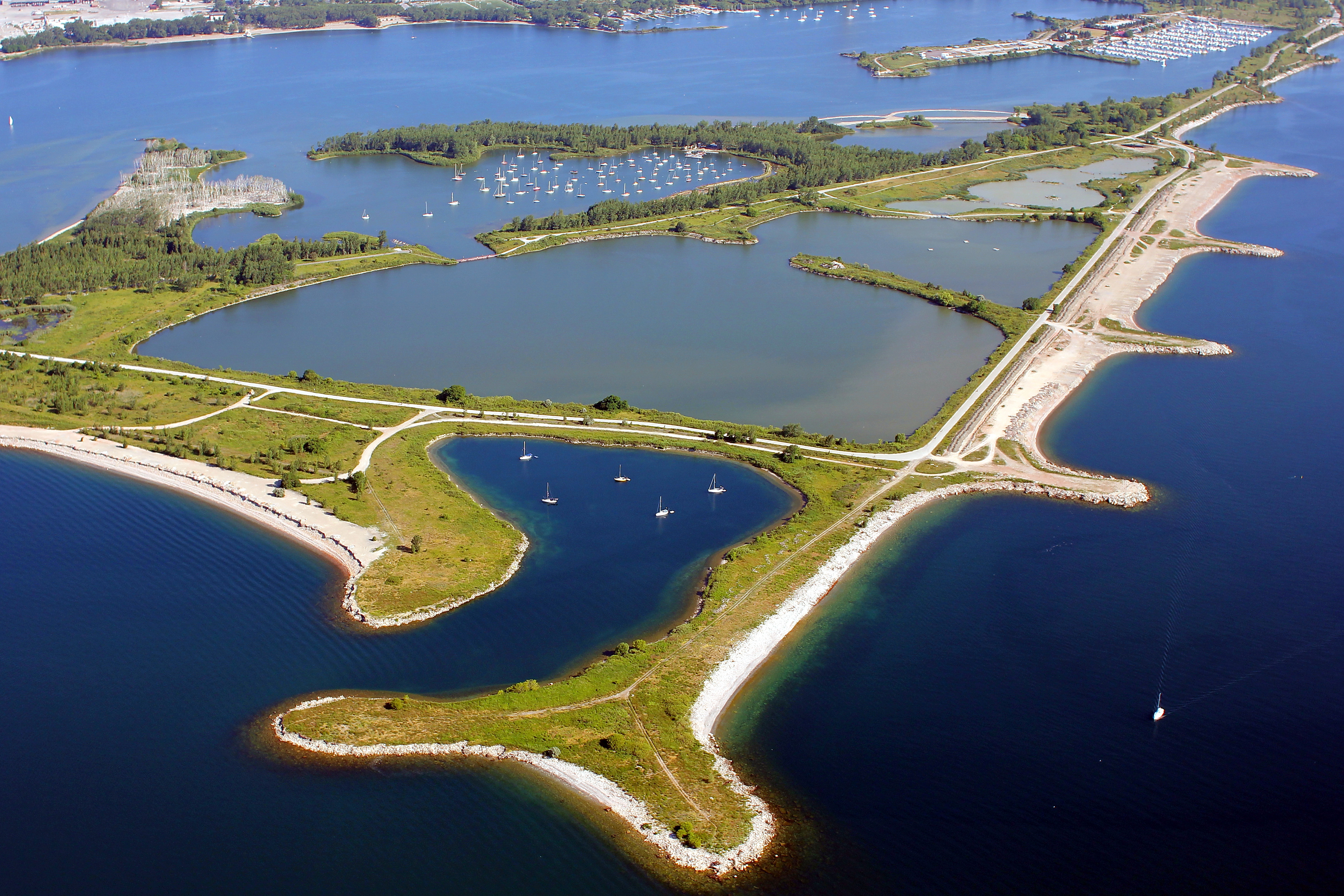 An aerial photograph of Tommy Thompson Park