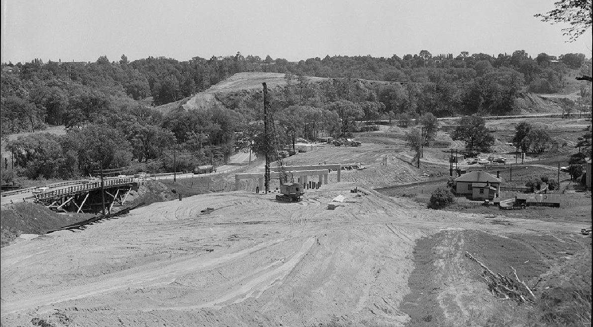 archival photograph of the construction of the Don Valley Parkway