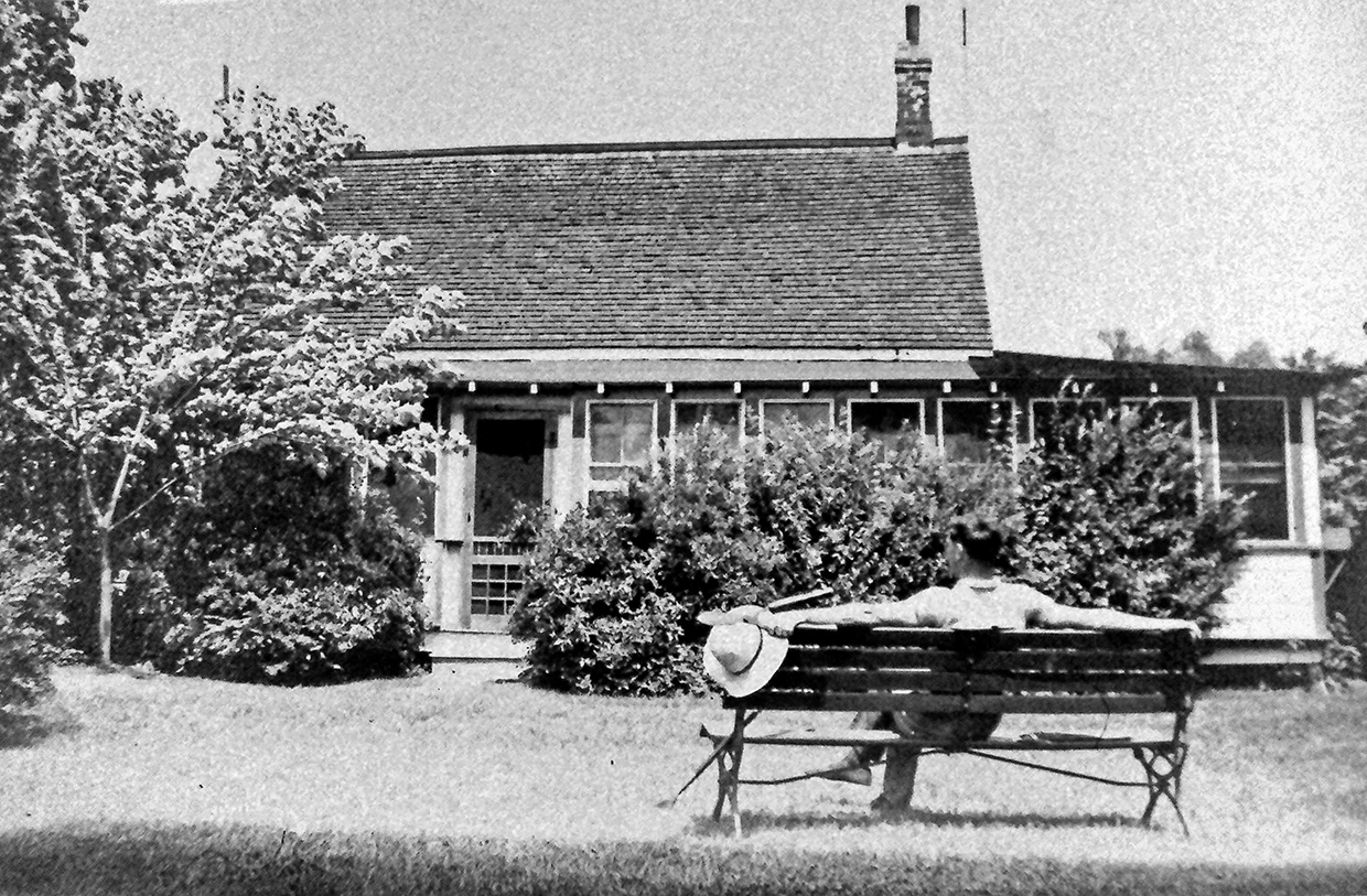archival photograph of Charles Sauriol at his cottage