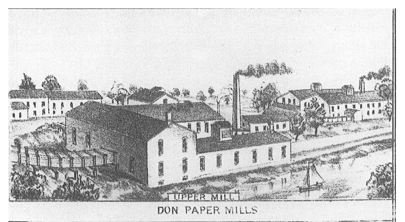 archival illustration of the Upper Mill at the Forks of the Don