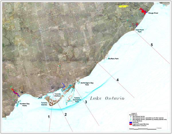 map of Toronto Waterfront shoreline profiles