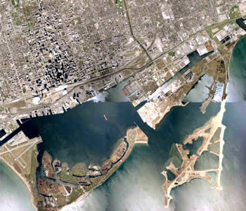 satellite photograph of Toronto waterfront
