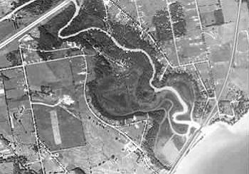 aerial view of Rouge Marsh in 1958