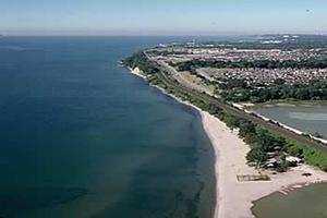 aerial view of Port Union shoreline