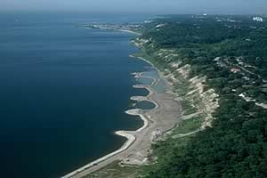 aerial view of Scarborough Waterfront looking west
