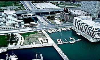 aerial view of Spadina Quay
