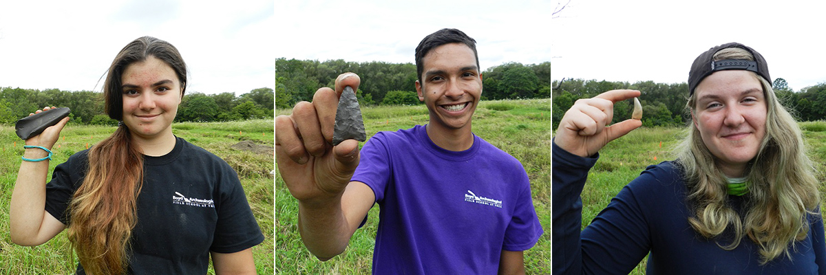 students display artifacts excavated at Boyd Archaeological Field School