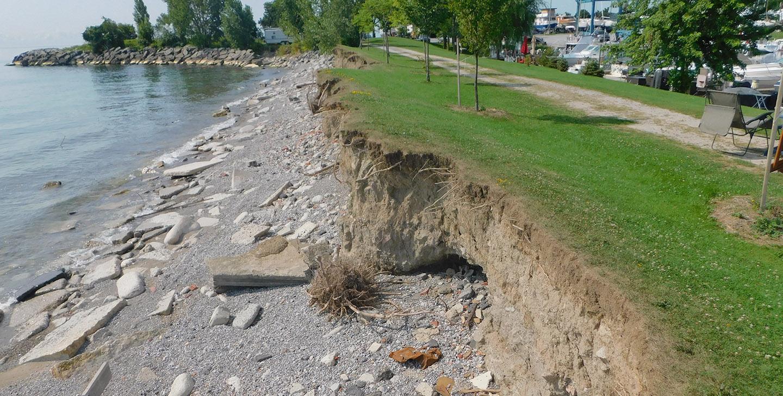 erosion on Bluffer's Park shoreline
