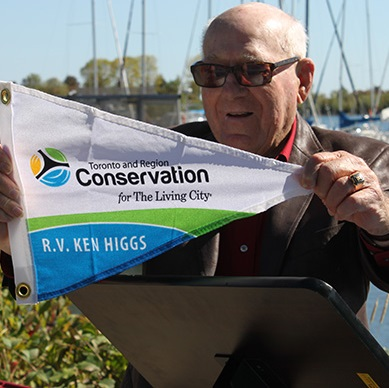 Ken Higgs at christening of new TRCA research vessel