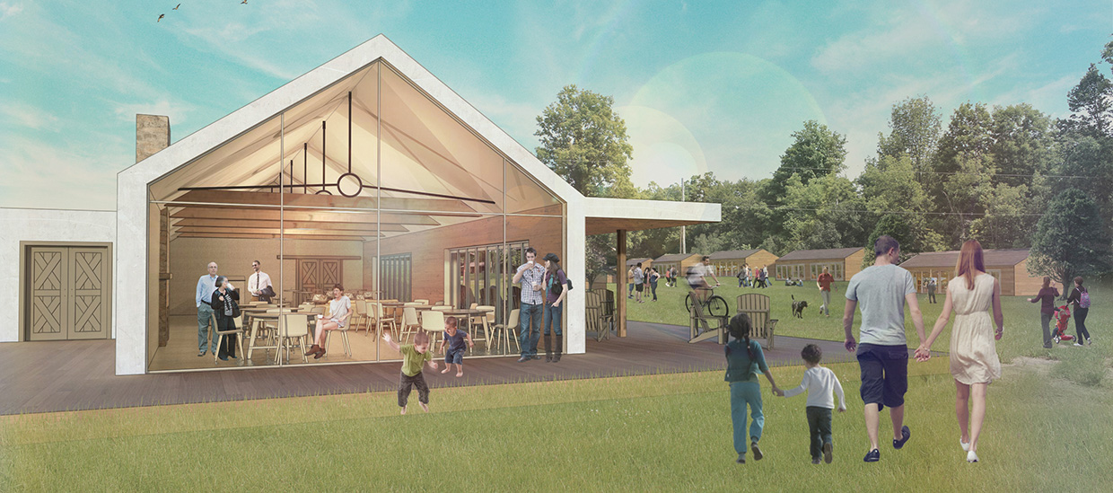 architectural rendering of new cafe at Bolton Camp