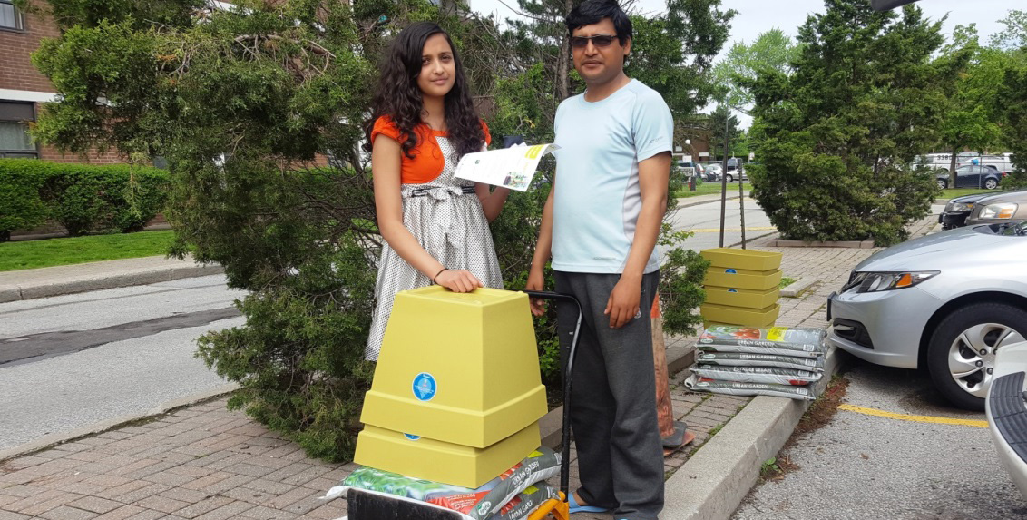 residents take delivery of balcony containers and soil