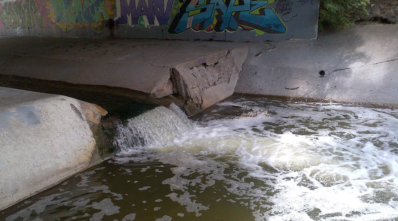 Black Creek channel drop structure before repair