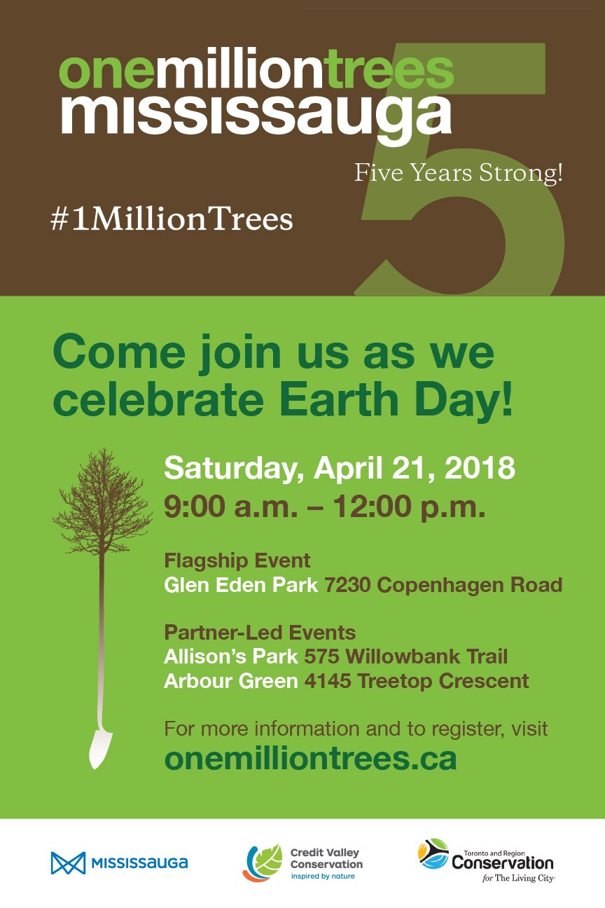 One Million Trees Earth Day Celebration flyer