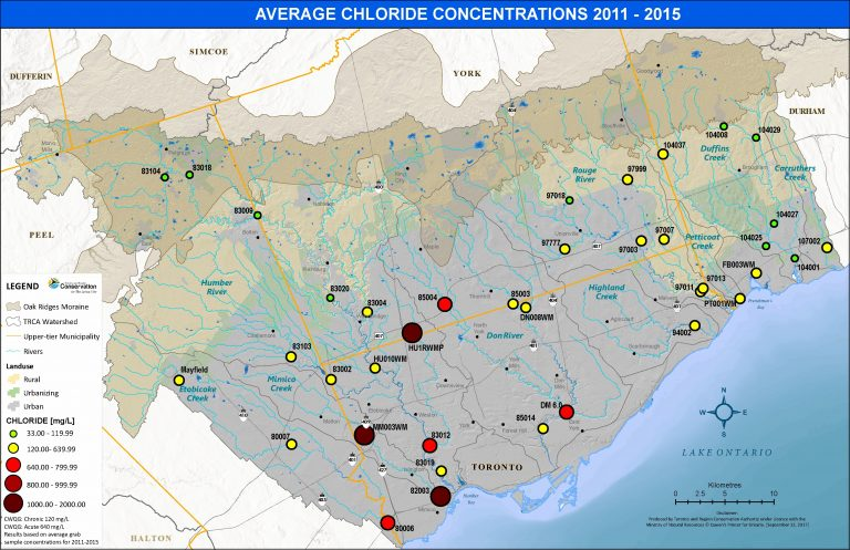 map showing average chloride concentrations in TRCA jurisdictions