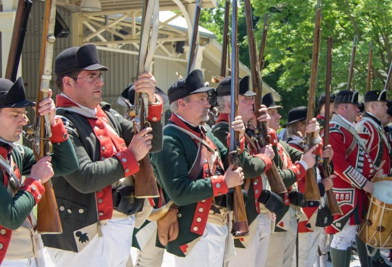 Revolutionary War re-enactors at Black Creek Pioneer Village