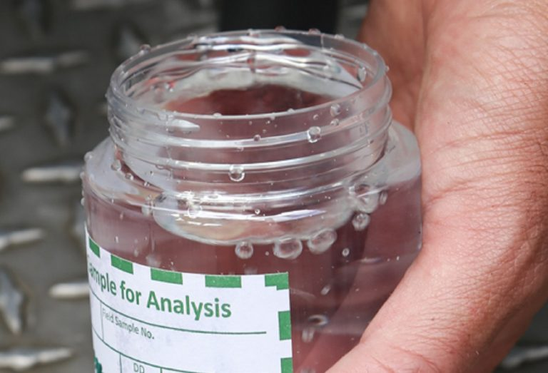 researcher tests water sample for blue-green algae