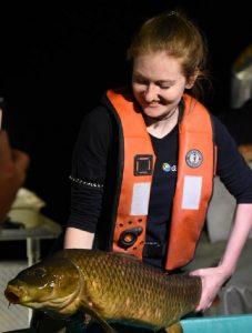 TRCA monitoring team member holds carp