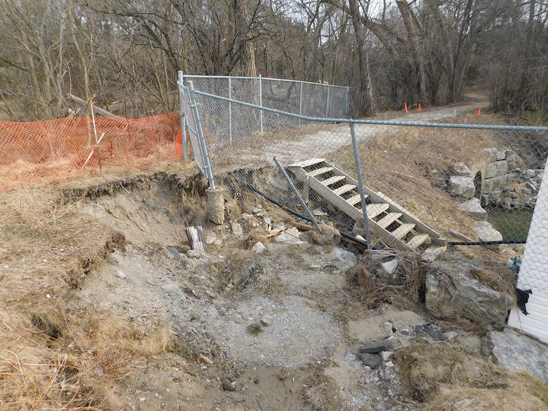 Pomona Mills washout in April 2018