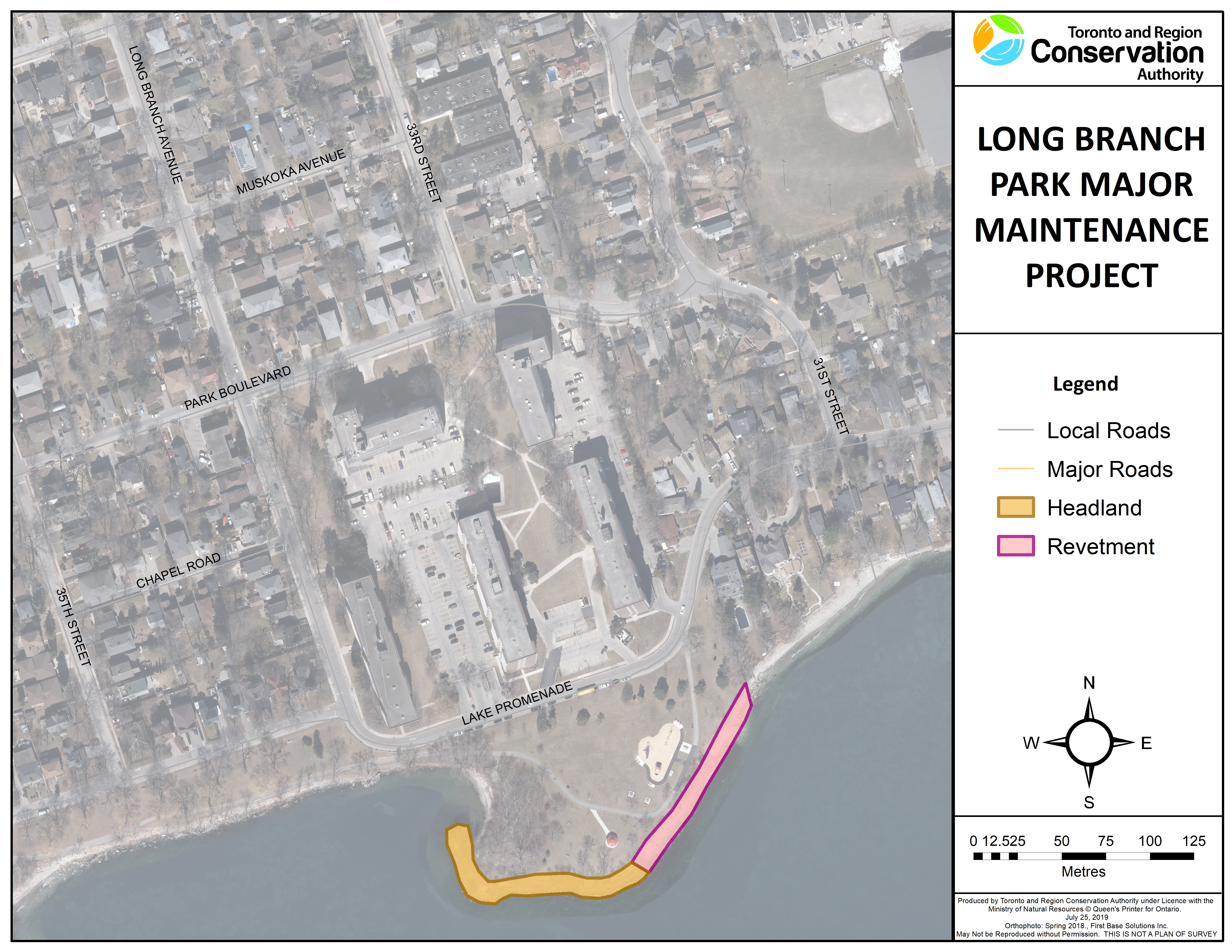 Project area including location of the armourstone headland and revetment at Long Branch Park. Source: TRCA, 2019.